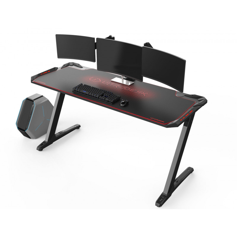 Ultradesk SPACE XXL grand bureau gamer à LED Rouge