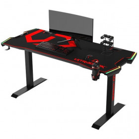 Ultradesk FORCE Rouge Grand bureau gamer équipé à LED