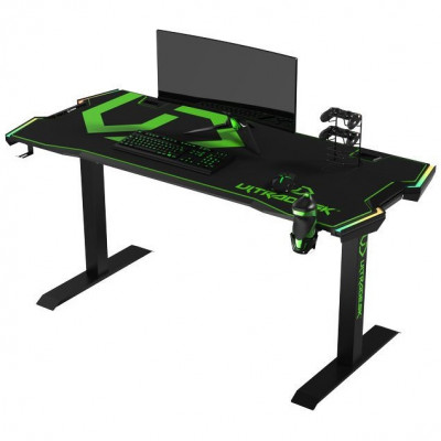 Ultradesk FORCE Vert Grand bureau gamer équipé à LED