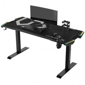 Ultradesk FORCE Gris Grand bureau gamer équipé à LED